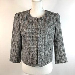ANN TAYLOR LOFT Size M Open Front Tweed Blazer